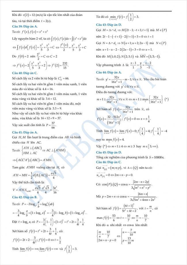đáp án đề thi thử toán THPT tỉnh Yên Bái năm 2018 (4)