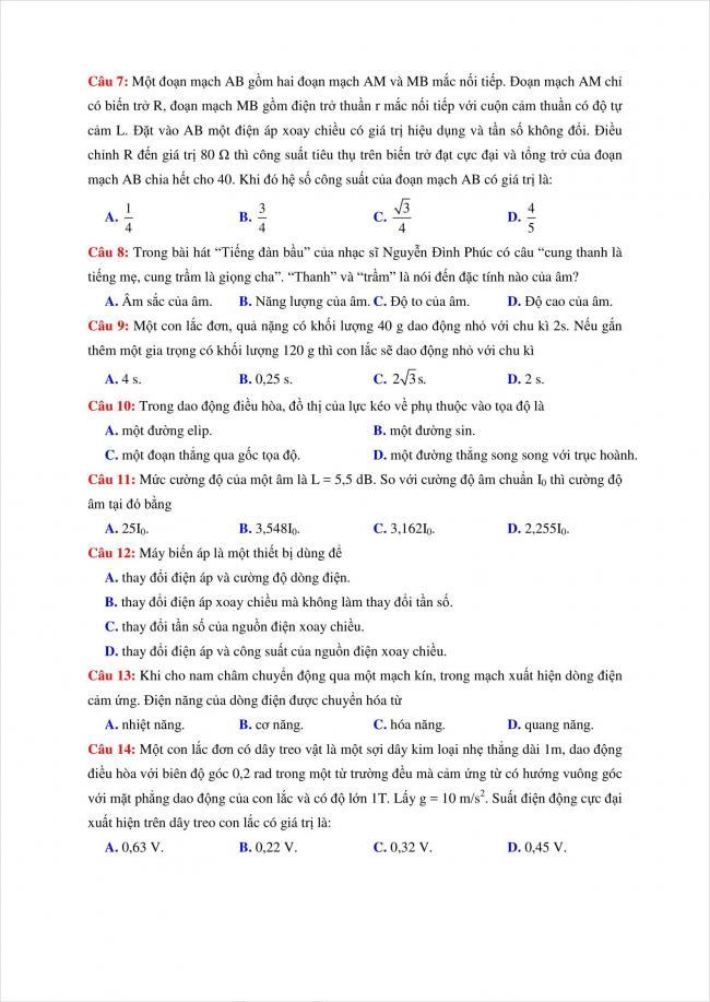 đề thi thử vật lý THPT chuyên Quốc Học Huế năm 2018 (2)
