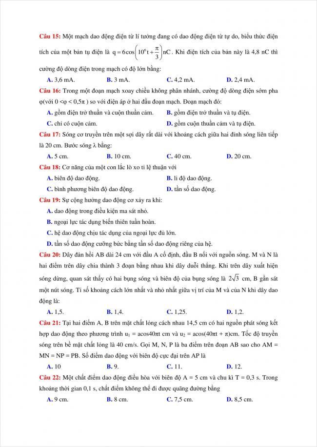 đề thi thử vật lý THPT chuyên Quốc Học Huế năm 2018 (3)