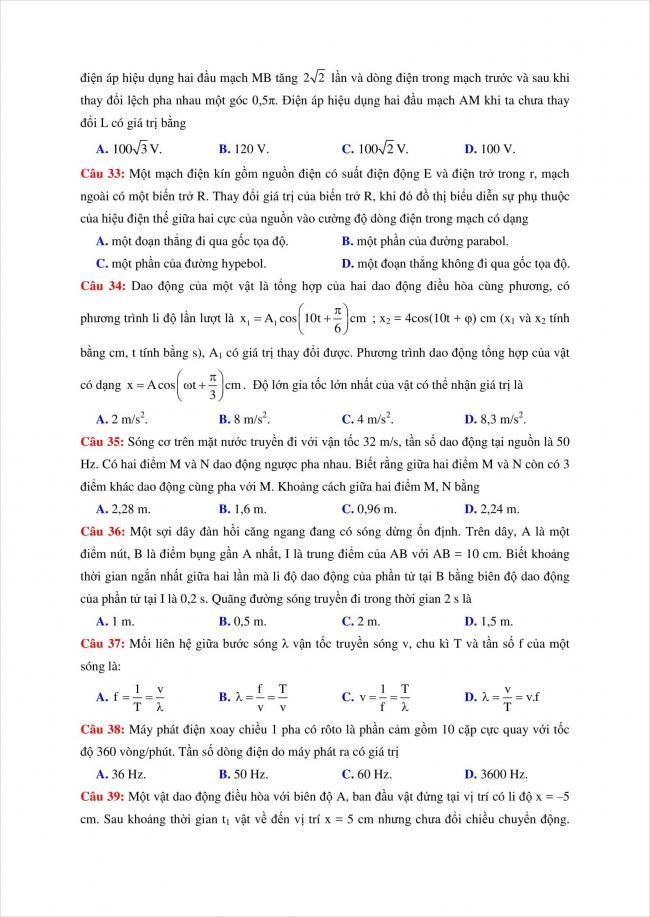 đề thi thử vật lý THPT chuyên Quốc Học Huế năm 2018 (6)