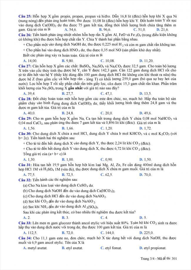 trang 3 câu 25 - 34 đề thi thử hóa THPT năm 2018 Quảng Nam