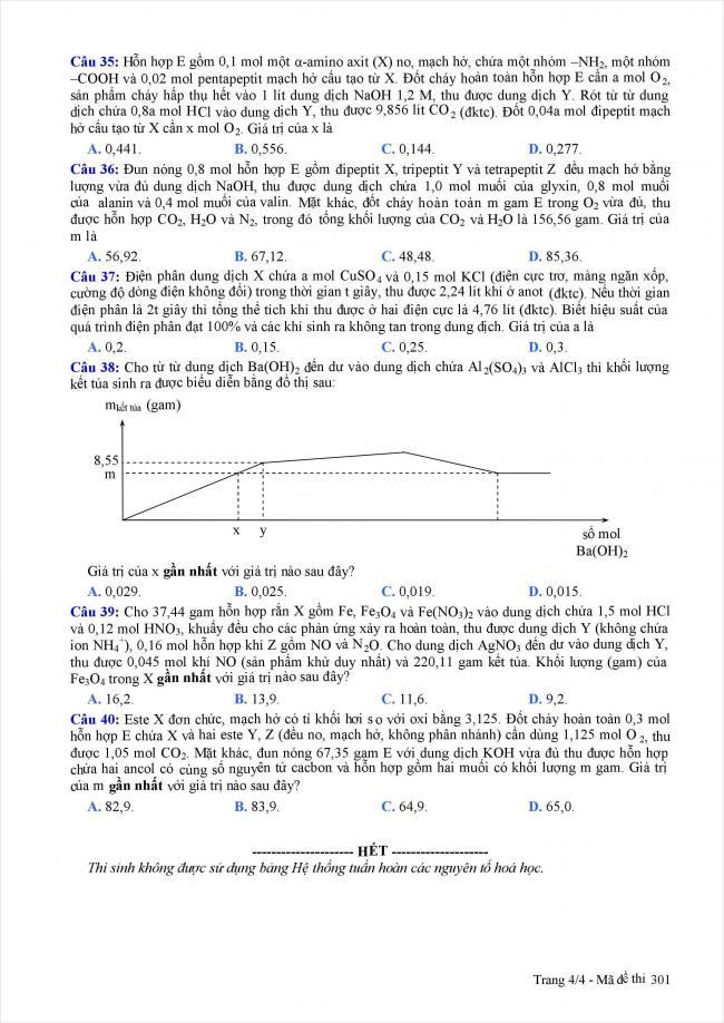 trang 4 câu 35 - 40 đề thi thử hóa THPT năm 2018 Quảng Nam