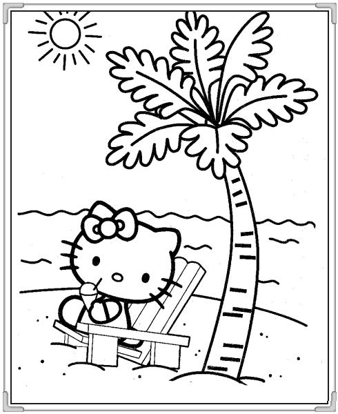Mèo helo kitty ra biển chơi