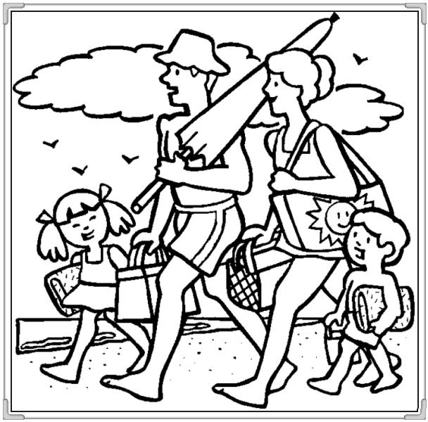 Cả gia đình đi tắm biển