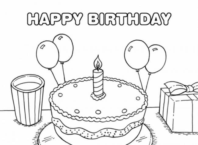 Tranh tô màu bánh sinh nhật với trái bóng