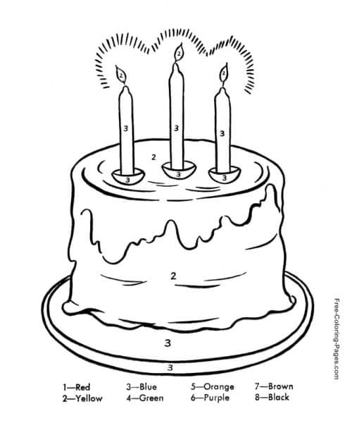 hình tô màu bánh sinh nhật hướng dẫn số