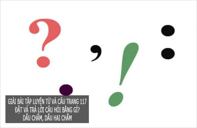 Giải bài tập luyện từ và câu trang 117 Đặt và trả lời câu hỏi Bằng gì? Dấu chấm, dấu hai chấm