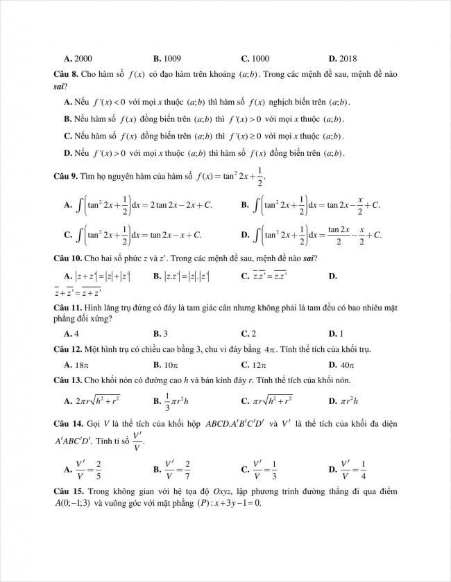 đề toán thi thử THPT chuyên Quốc học Huế năm 2018 (2)