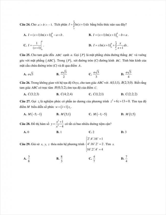 đề toán thi thử THPT chuyên Quốc học Huế năm 2018 (4)