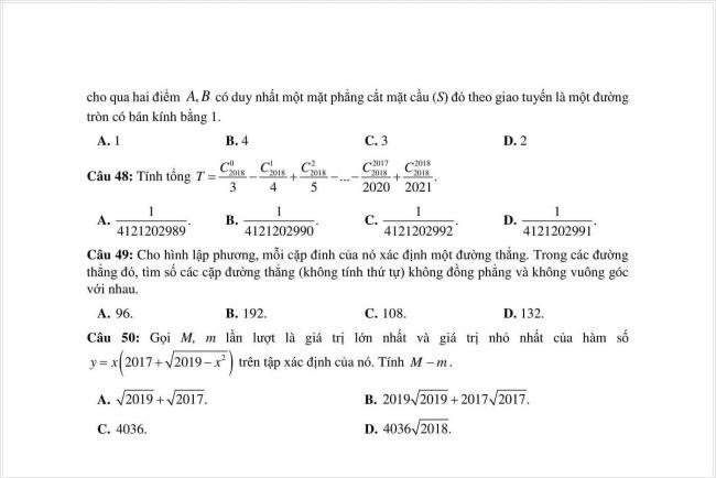 đề toán thi thử THPT chuyên Quốc học Huế năm 2018 (8)