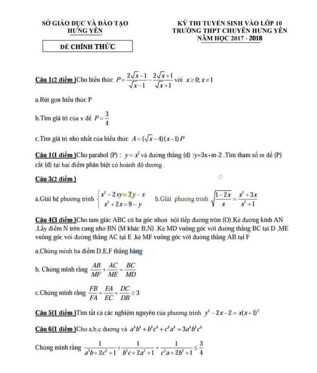 đề thi thử vào lớp 10 môn toán THPT chuyên Hưng Yên năm 2018