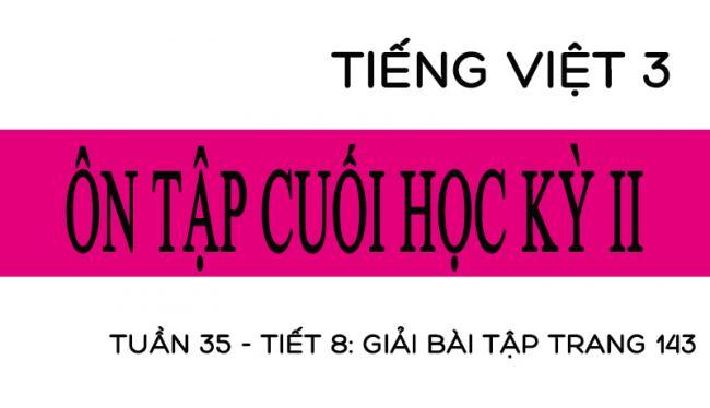 Tuần 35 ôn tập cuối học kỳ II Tiết 8: giải bài tập trang 143 Tiếng Việt 3