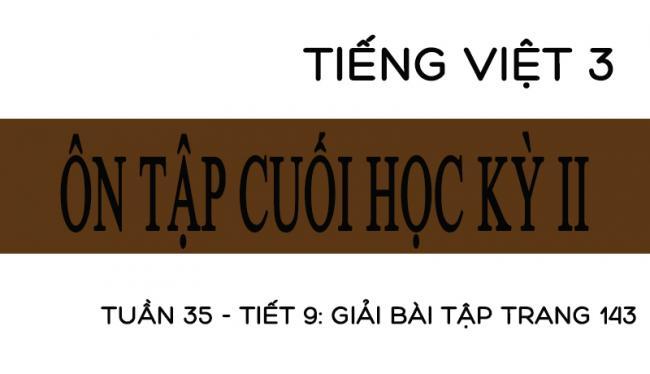 Tuần 35 ôn tập cuối học kỳ II Tiết 9: giải bài tập trang 143 Tiếng Việt 3