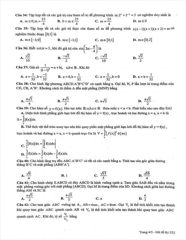 đề thi thử môn toán lần 3 năm 2018 THPT chuyên sư phạm Hà Nội (4)