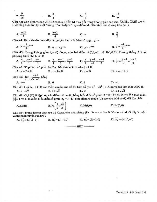 đề thi thử môn toán lần 3 năm 2018 THPT chuyên sư phạm Hà Nội (5)