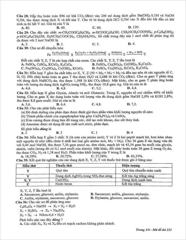 trang 3 từ câu 28 đến 36 đề hóa chuyên ĐH sư phạm Hà Nội
