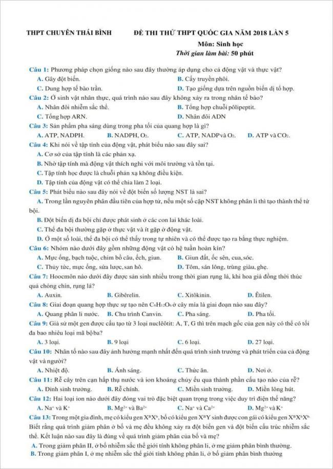 câu 1 đến 13 trang 1 đề thi sinh chuyên thái binh