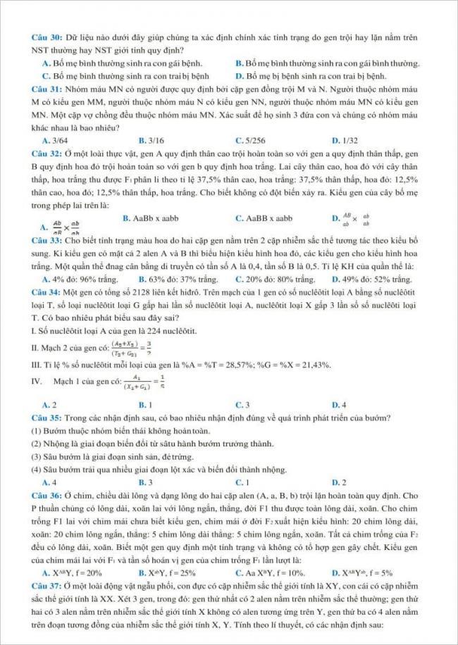 câu 30 đến 37 trang 4 đề thi sinh chuyên thái binh