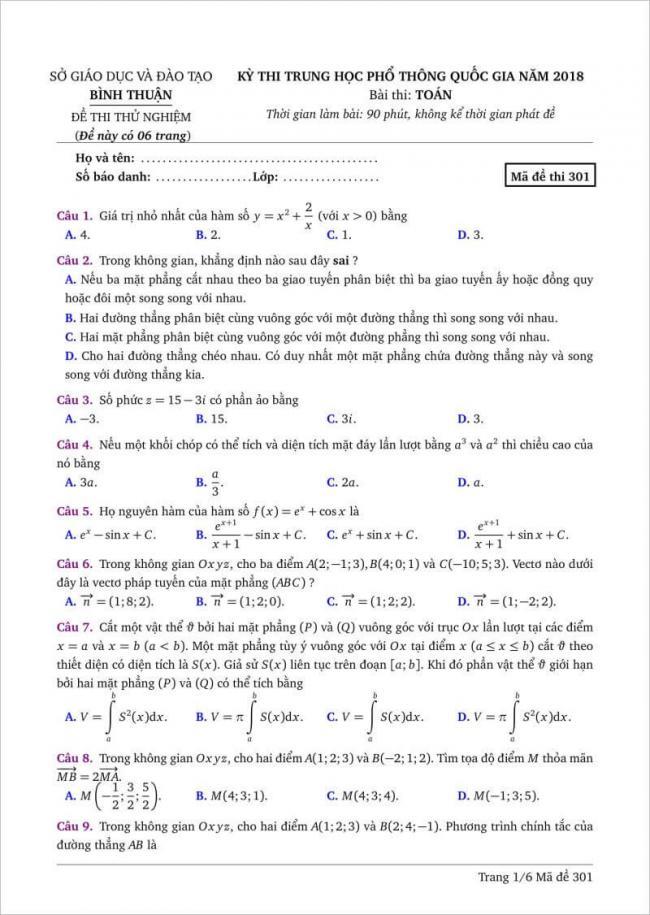 câu 1-9 trang 1 dạng đề toán tỉnh bình thuận