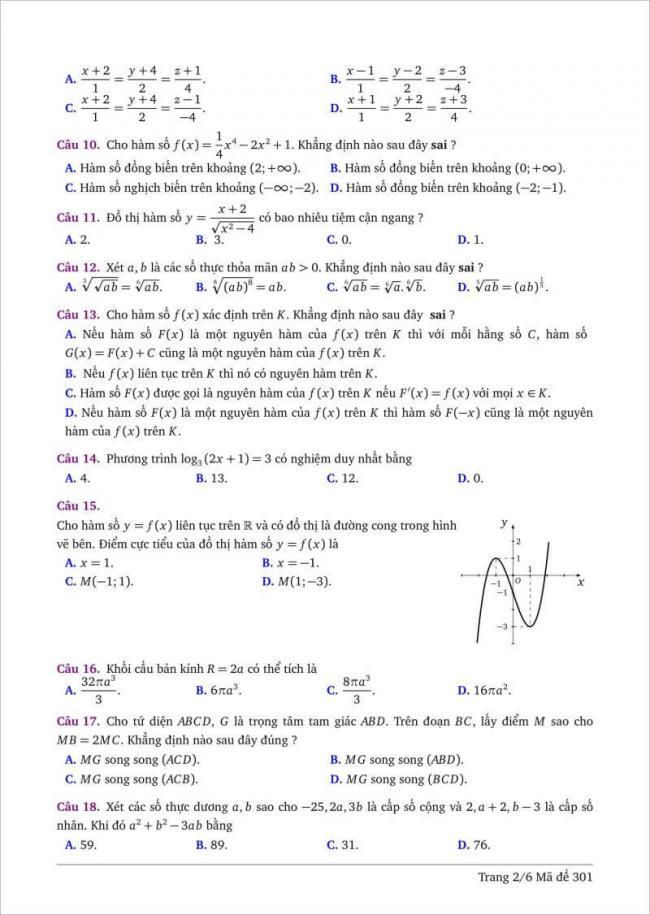 câu 10-18 trang 2 dạng đề toán tỉnh bình thuận