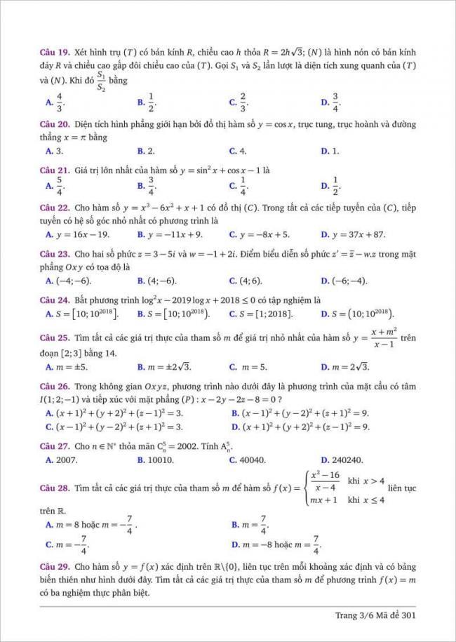 câu 19-29 trang 3 dạng đề toán tỉnh bình thuận