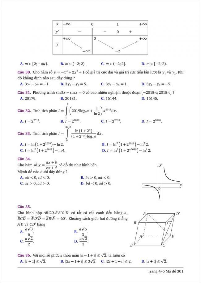 câu 30-36 trang 4 dạng đề toán tỉnh bình thuận
