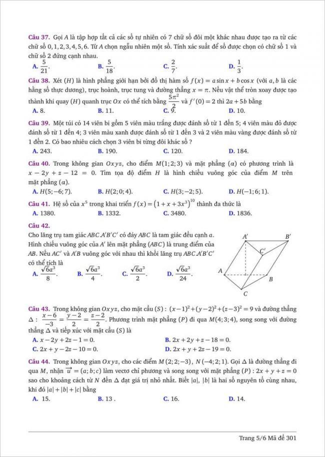 câu 37-44 trang 5 dạng đề toán tỉnh bình thuận