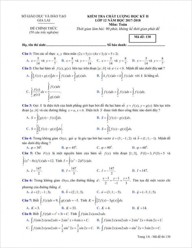 câu 1 đến 8 trang 1 đề toán tỉnh gia lai