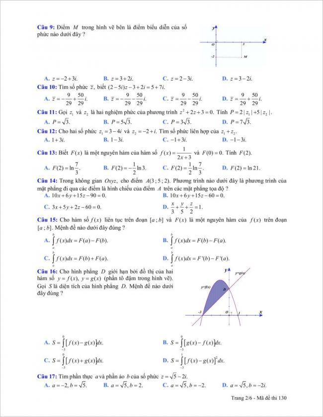 câu 9 đến 17 trang 2 đề toán tỉnh gia lai