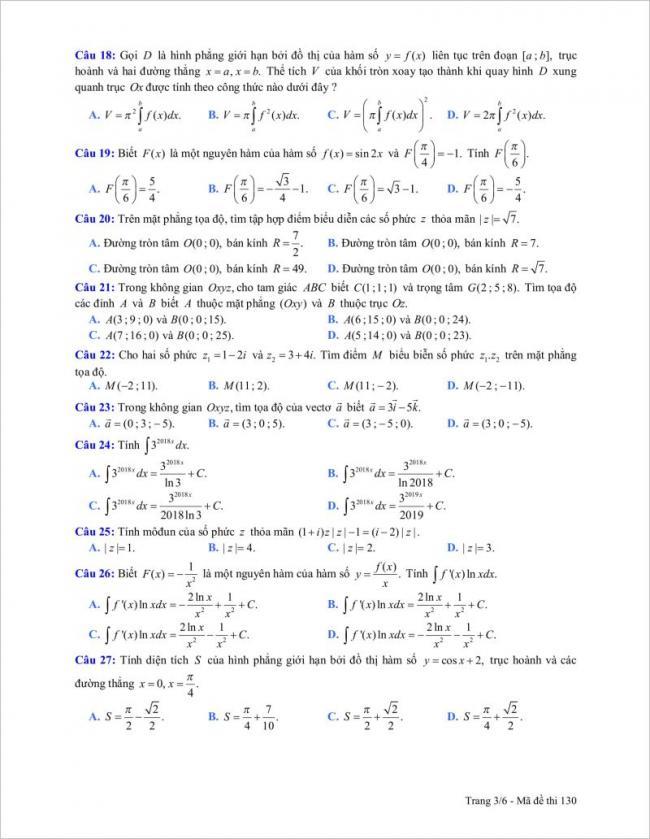 câu 18 đến 27 trang 3 đề toán tỉnh gia lai