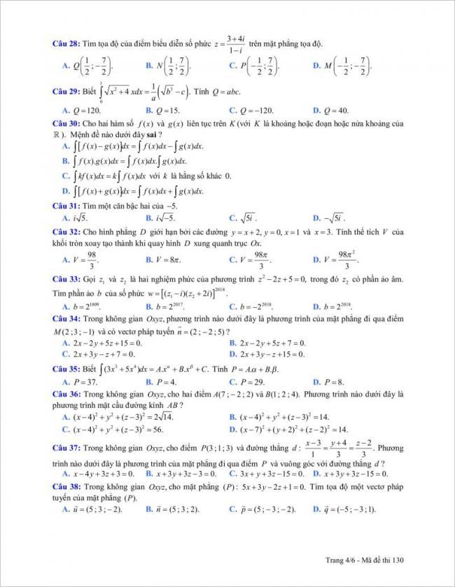 câu 28 đến 38 trang 4 đề toán tỉnh gia lai