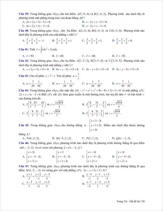 câu 39 đến 47 trang 5 đề toán tỉnh gia lai