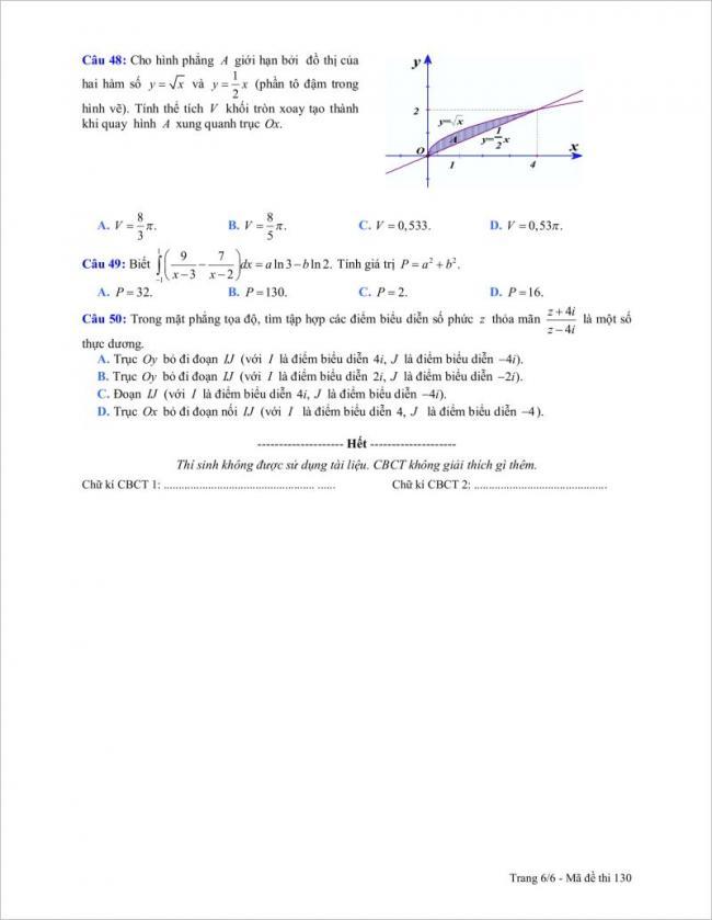 câu 48 đến 50 trang 6 đề toán tỉnh gia lai