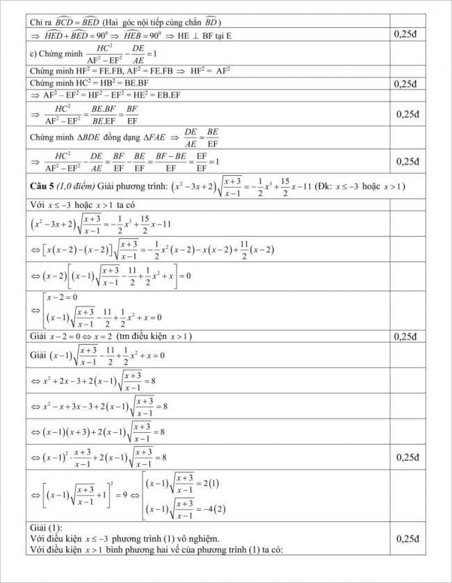 lời giải câu 5 phần tự luận đề toán lớp 10 hải hậu
