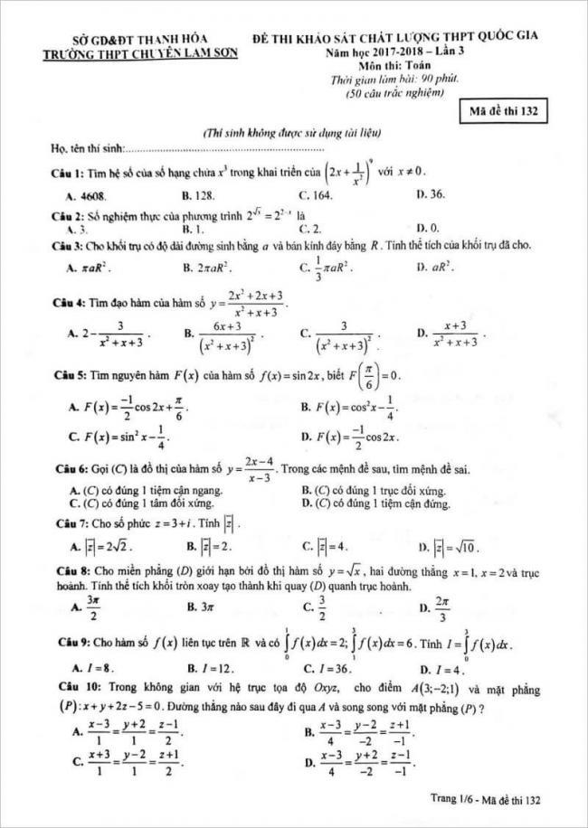 đề thi toán câu 1 - 10 mã đề 132 thpt chuyên lam sơn