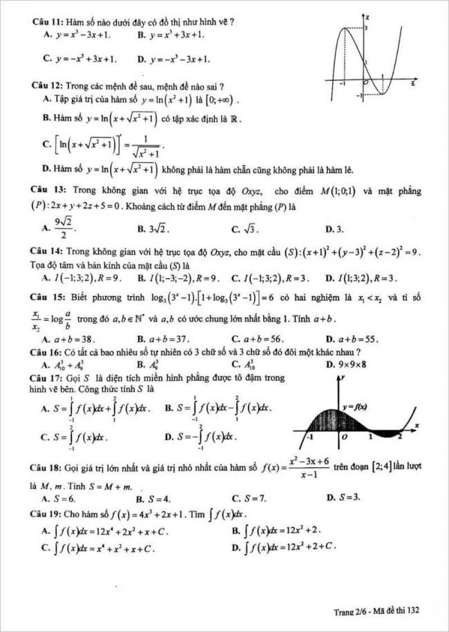 đề thi toán câu 11 - 19 mã đề 132 thpt chuyên lam sơn