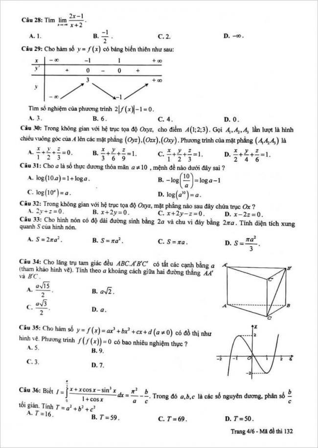 đề thi toán câu 28 - 36 mã đề 132 thpt chuyên lam sơn