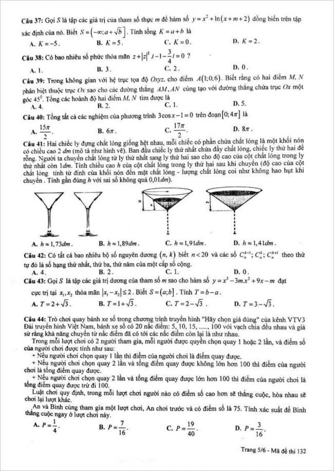 đề thi toán câu 37 - 44 mã đề 132 thpt chuyên lam sơn