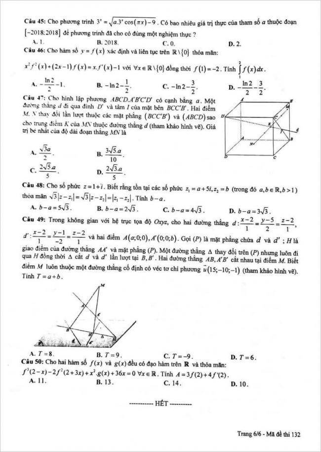 đề thi toán câu 45 - 50 mã đề 132 thpt chuyên lam sơn