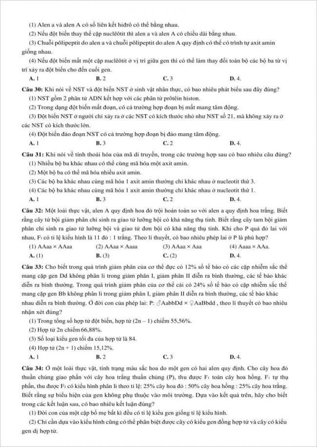 câu 30-34 trang 4 đề sinh trường hùng vương