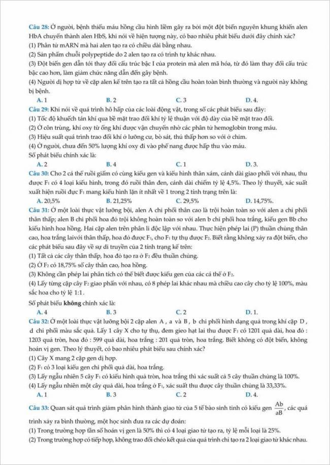 trang 5 từ câu 28 đến 33 đề sinh thi thử đhsp hà nội