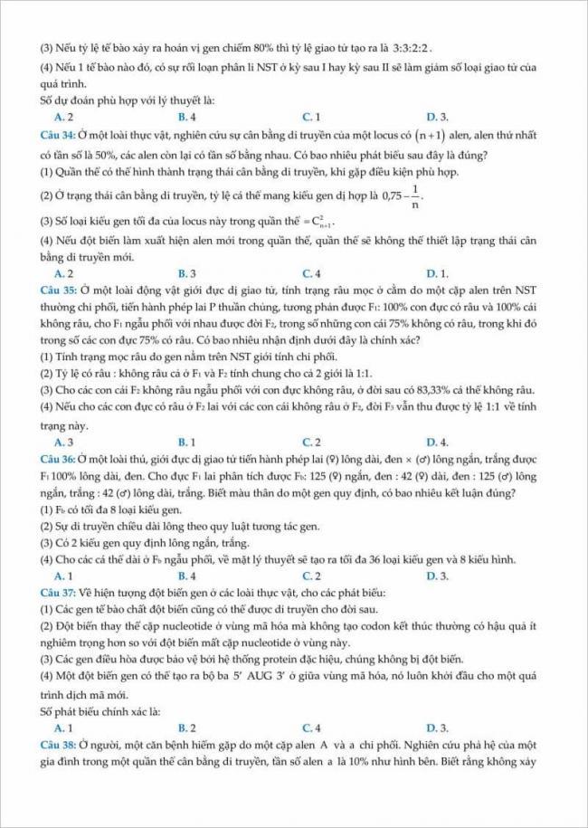 trang 6 từ câu 34 đến 38 đề sinh thi thử đhsp hà nội