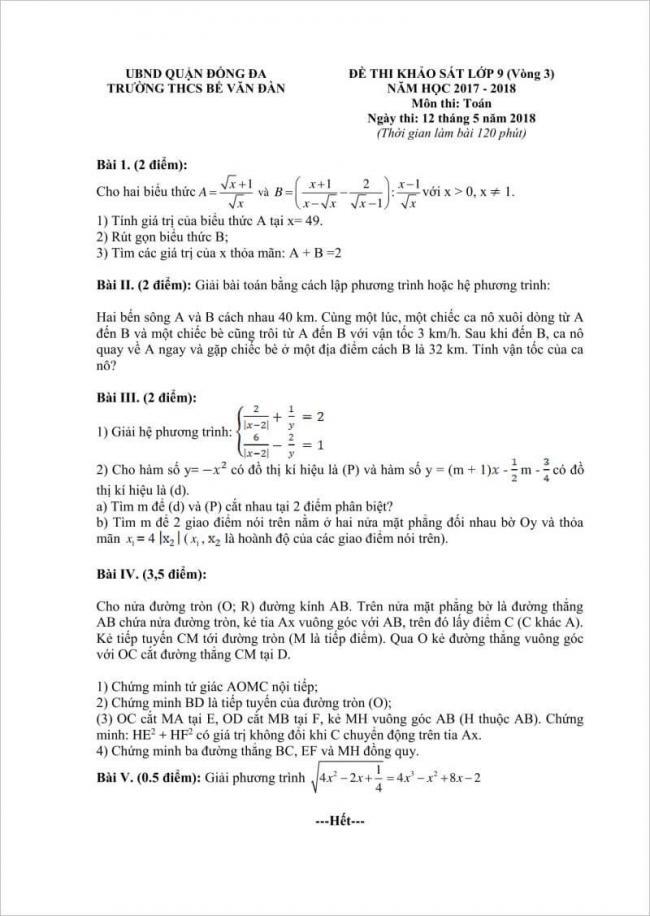 câu 1 đến câu 5 đề thi toán vào lớp 10 THCS Bế Văn Đàn
