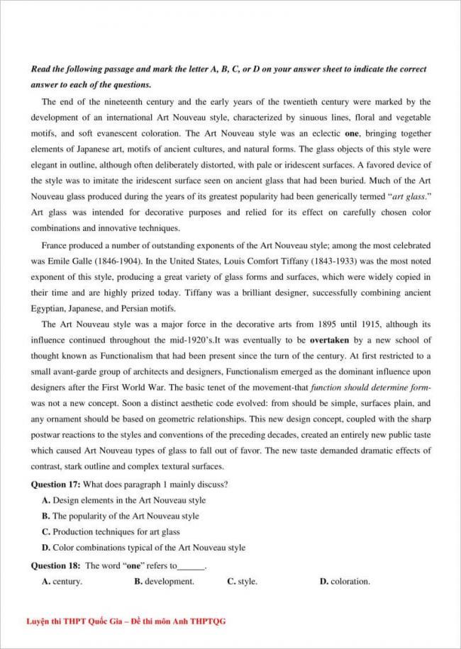 câu 17-18 trang 3 đề anh thpt chuyên đại học vinh