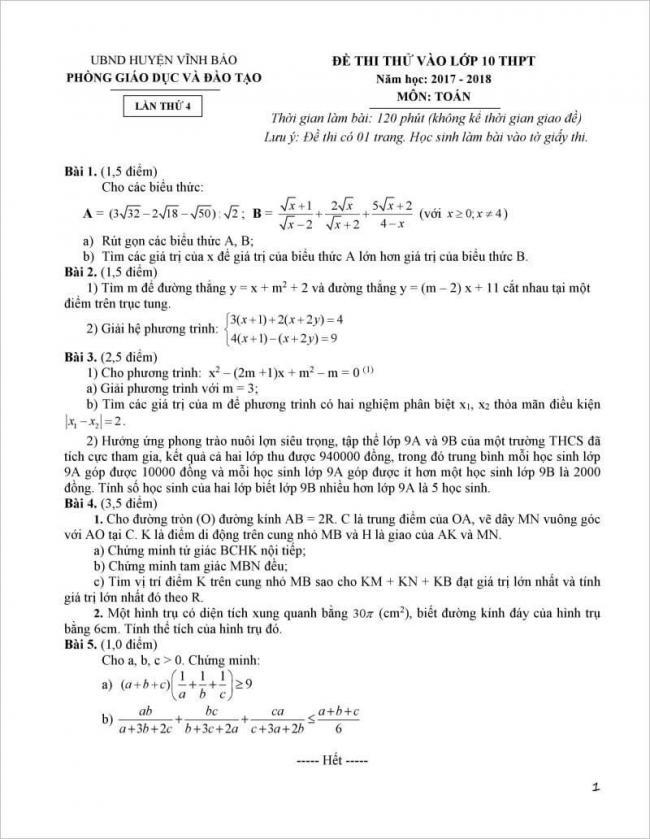 đề thi từ câu 1-5 đề toán thi vào lớp 10 vĩnh bảo, hải phòng