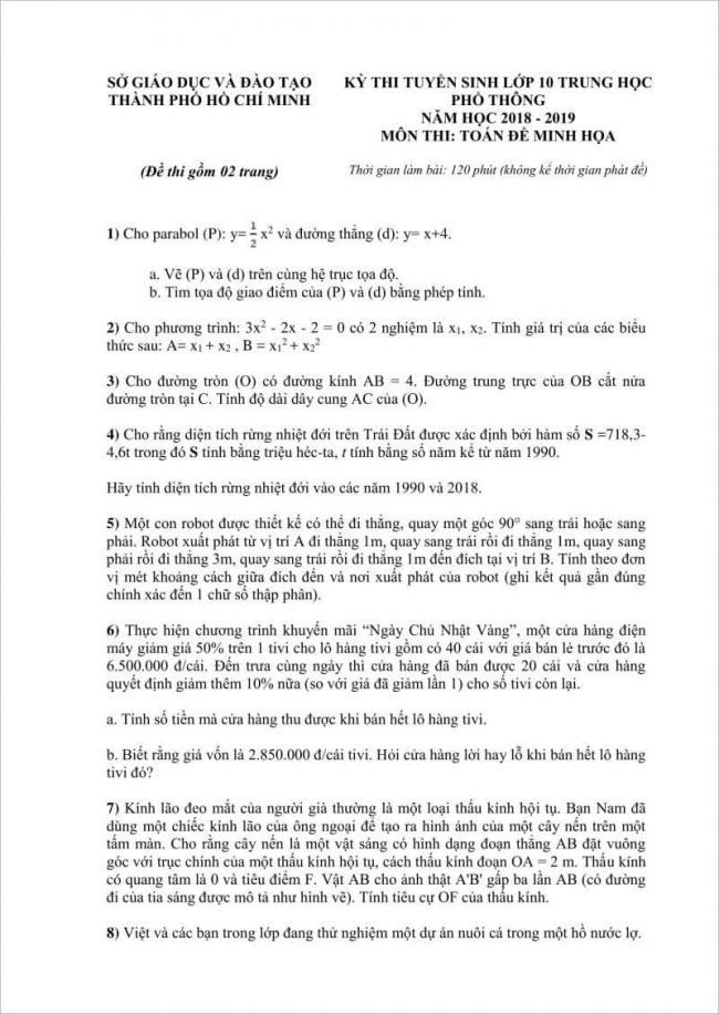 trang 1 câu 1 đến 8 đề toán lớp 10 tphcm