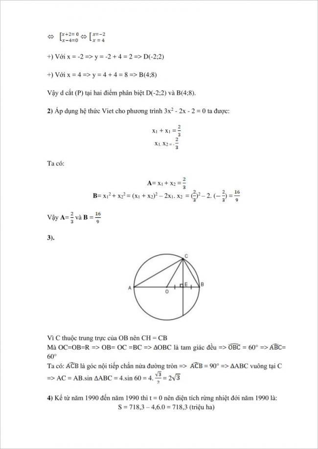đáp án câu 2, 3, 4 đề toán lớp 10 tphcm
