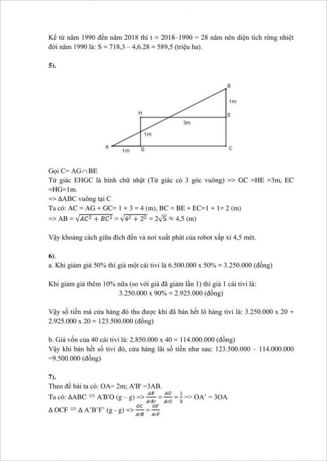đáp án câu 5, 6, 7 đề toán lớp 10 tphcm