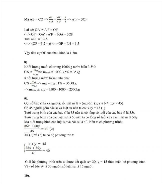 đáp án câu 8,9 đề toán lớp 10 tphcm