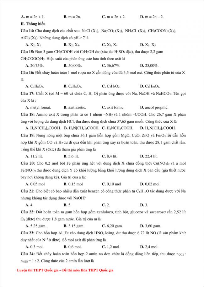 đề bài câu 14 đến 24 trang 2 đề thi hóa thpt kim liên